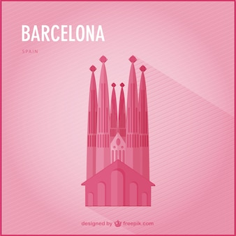 Pink barcelona background with the cathedral