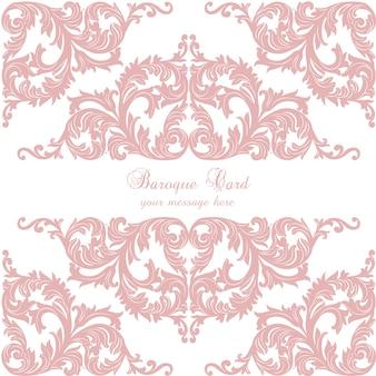 Pink baroque card design
