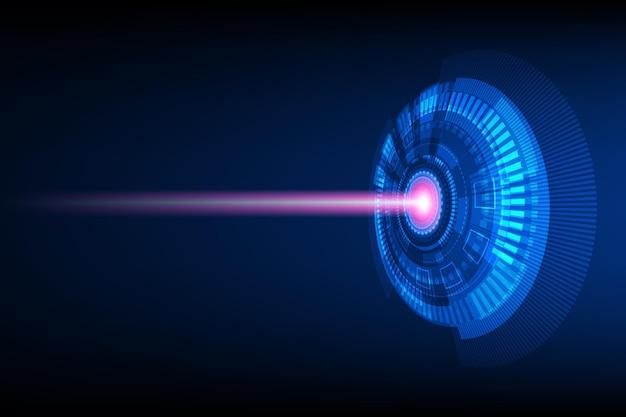 핑크 빔 촬영, 진한 파란색 배경 위에 추상 원 디지털,