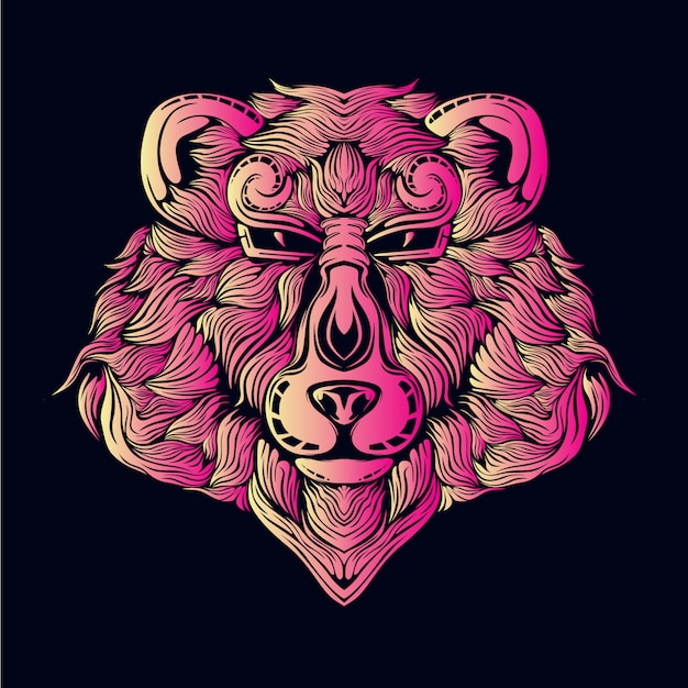 Pink bear head illustration