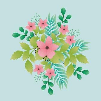 ピンクの美しい花と葉の装飾的なアイコンのデザイン