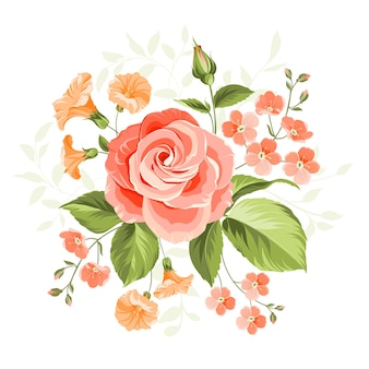 Pink beautiful rose illustration