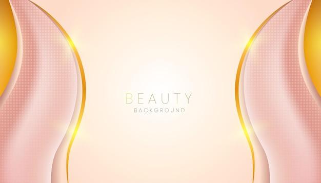 ピンクの美しさの抽象的な背景と金色の線