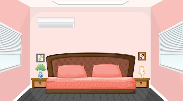 Дизайн интерьера розовой спальни с мебелью