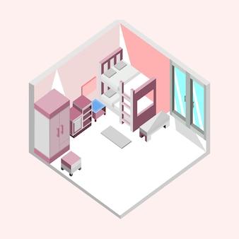 핑크 침실 아이소 메트릭 홈 인테리어 일러스트 디자인