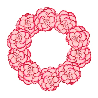 Pink begonia flower picotee first love wreath.