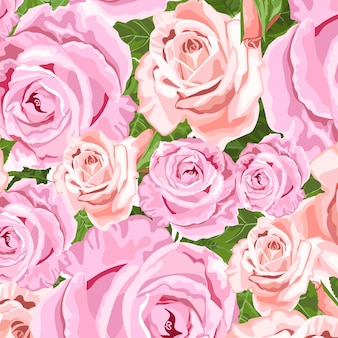 Pink and beige roses vector floral background for wedding invitations