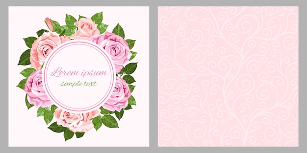 Pink and beige roses wreath for greeting card and envelope