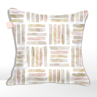 Pink and beige watercolor drawing stipes seamless pattern square tiles