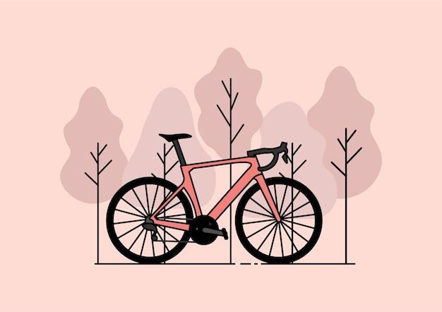 森の中のピンクの自転車