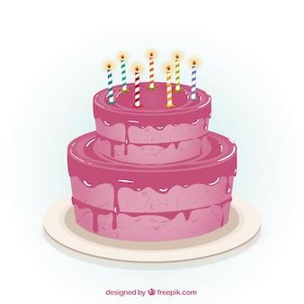 Розовый день рождения торт