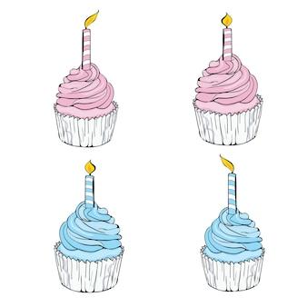 Розовый значок линии кекс празднования дня рождения с символом свечи.