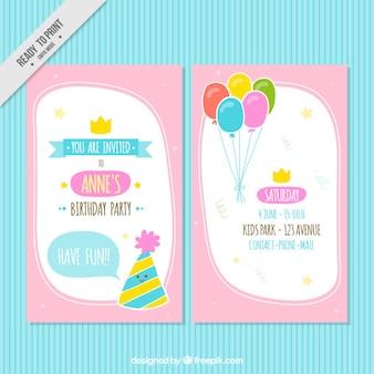 Розовый приглашение на день рождения с воздушными шарами