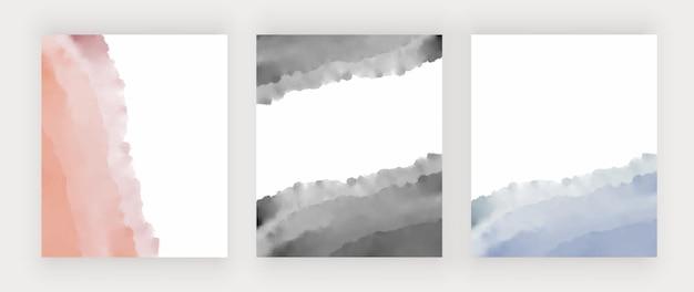 배너 카드 초대장 핑크 검정과 파랑 수채화 질감 벡터 디자인 배경