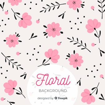 Pink and black flat floral background