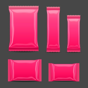 Pink blank foil food snack pack for chips