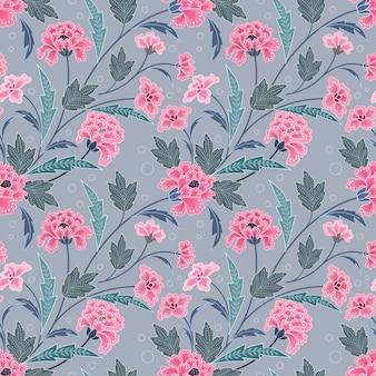Pink blooming flowers in batik style seamless pattern.