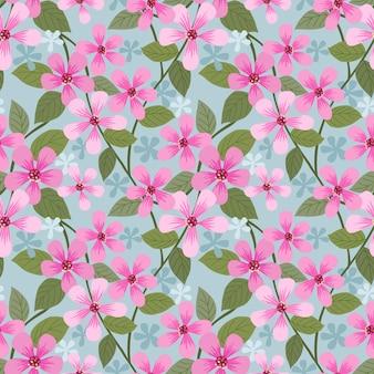 Pink blooming flowers pattern