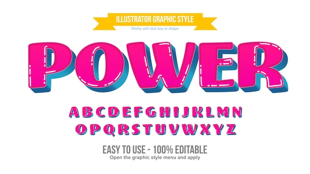 Pink and blue 3d uppercase cartoon editable text effect