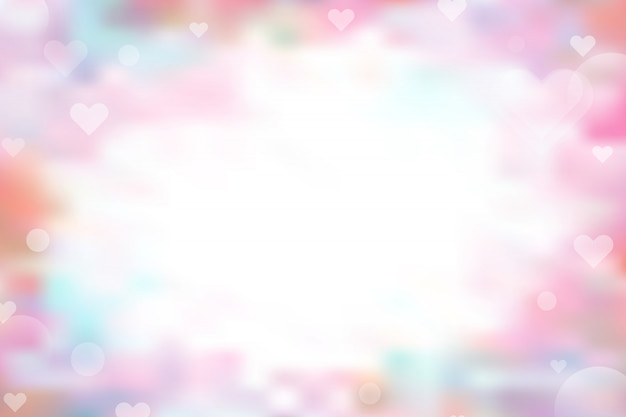 Pink and blue abstract background with heart bokeh for valentine's day