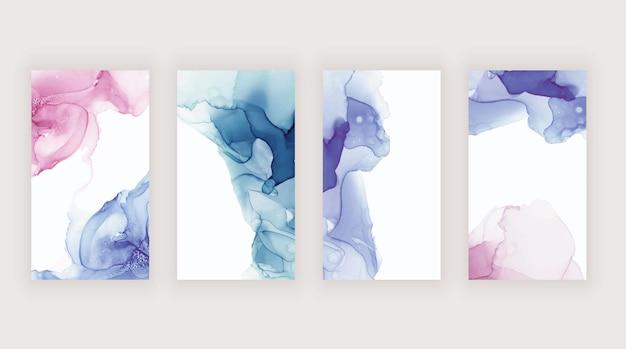 ソーシャルメディアストーリーバナー用のピンクブルーとパープルの水彩アルコールインク