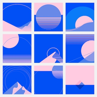 Pink and blue background retrofuturism style social media carousel set