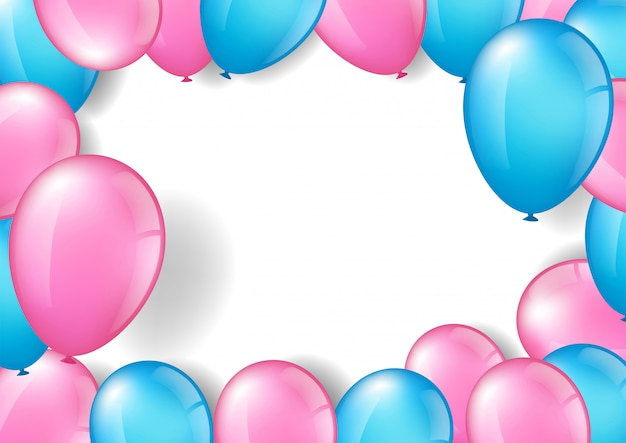 Pink and blue balloons frame with copy space