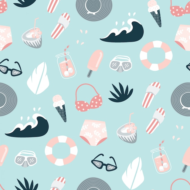 Pink and blue beach summer pattern
