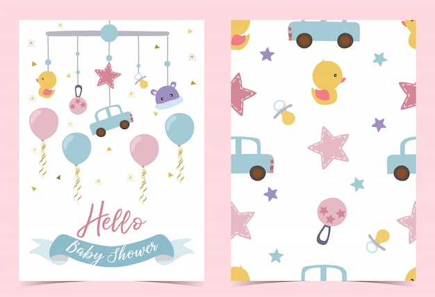 Pink blue birthday invitation with pacifier