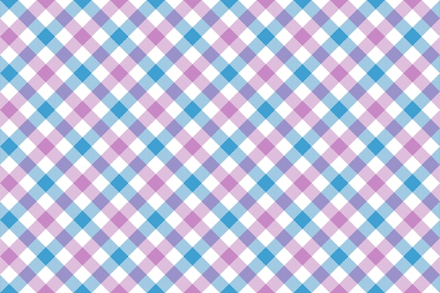 Pink blue check diagonal fabric texture background seamless pattern