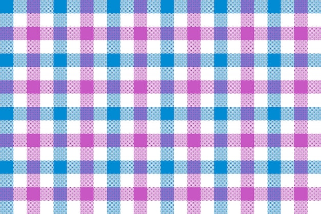 Pink blue check fabric texture background seamless pattern