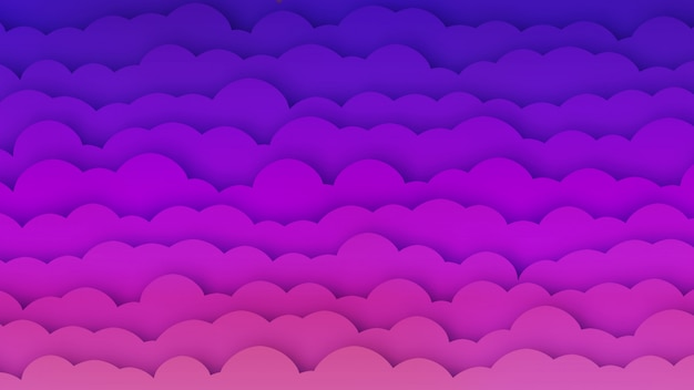 Pink and blue clouds bg with papercut effect