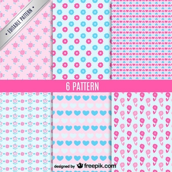 Pink and blue cute patterns set