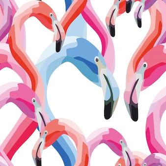 Pink blue flamingo head seamless pattern