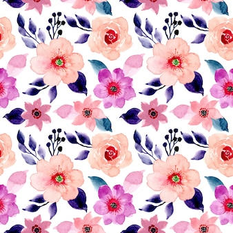 Pink and blue floral watercolor seamless pattern