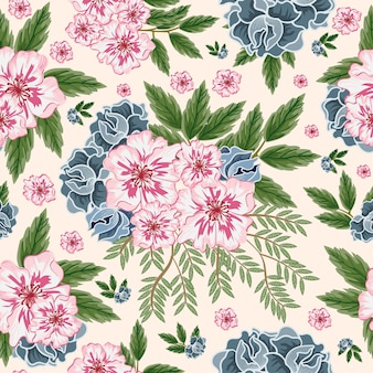 Pink and blue flower seamless pattern