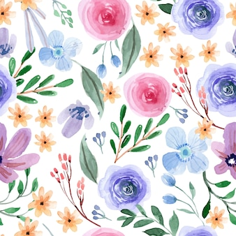 Pink and blue fun spring floral watercolor seamless pattern
