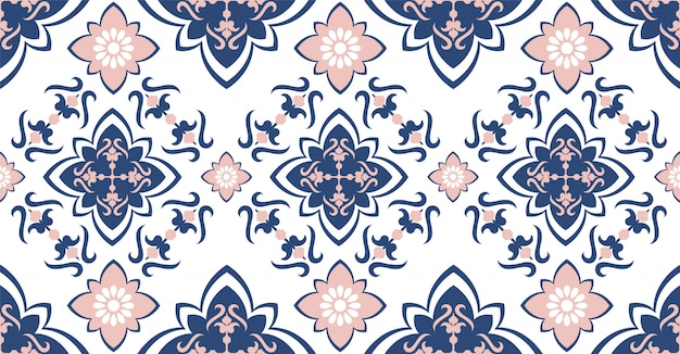 Pink blue geometric seamless pattern in african style with square, tribal shape