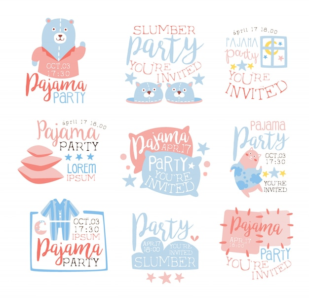 Pink and blue girly pajama party invitation templates set inviting kids for the slumber pyjama overnight sleepover cards
