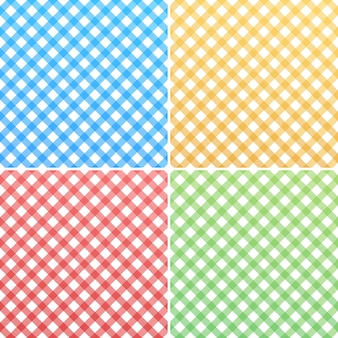 Pink, blue, green, yellow and white gingham
