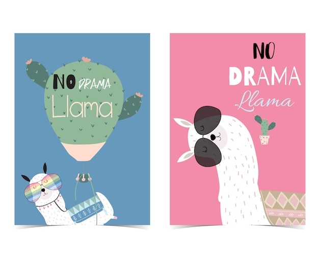 Pink and blue hand drawn cute card with no drama llama
