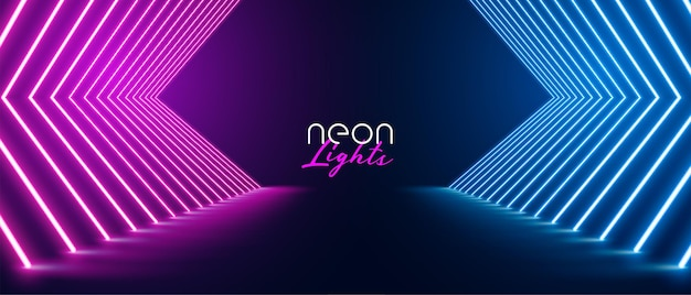 Pink and blue neon stage path floor