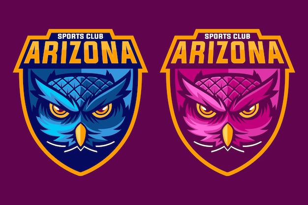 Pink and blue owl mascot logo