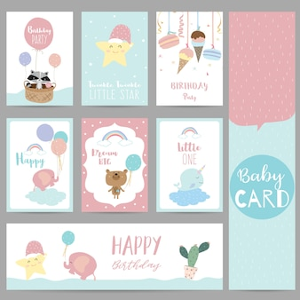 Pink blue pastel greeting card