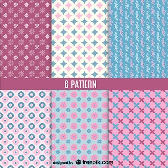 Pink and blue patterns set Free Vector