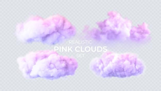 透明な背景に分離されたピンク、青、紫の雲。雲の3dリアルなセット。本当の透明効果。ベクトルイラスト