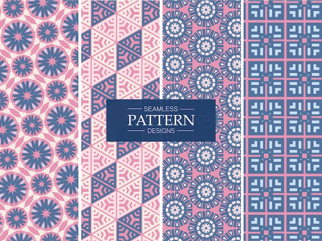 Pink and blue seamless pattern collection