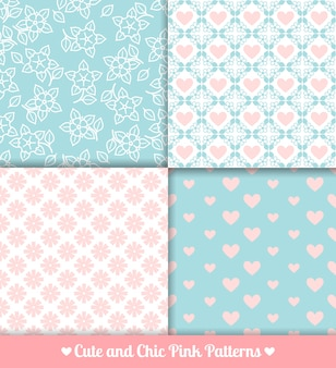Pink and blue seamless patterns set
