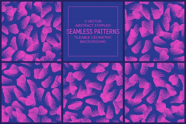 Pink blue stippled abstract shapes seamless patterns