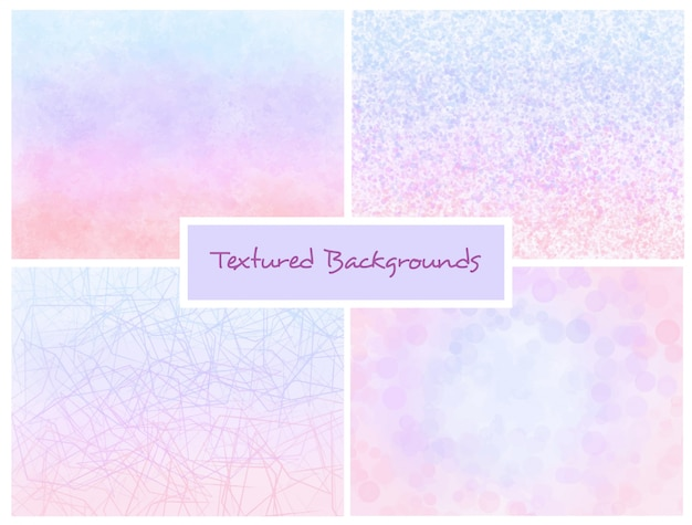 Pink and blue textured ombre backgrounds set